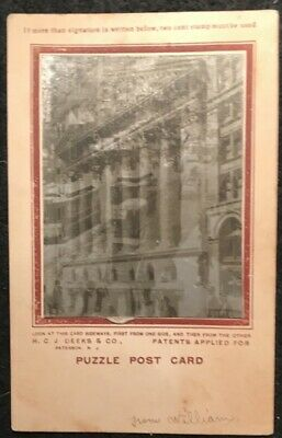 Deeks Puzzle Postcard Ny Street View Trolley Cars & Building