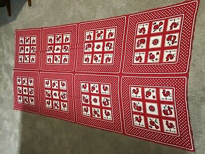 """Mid Century Cotton Tablecloth 44"""" x 92"""" Rectangular Roosters, Apples Red Vintage"""