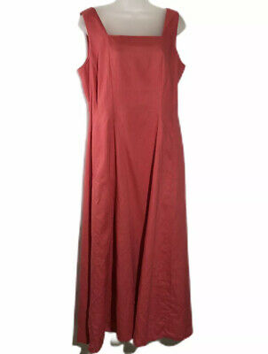 Laura Ashley Linen Maxi Dress Size 12 Coral Sleeveless Fit & Flare