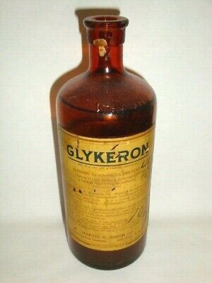 Nice Old Controlled Substance Glykeron Morphine Pharmaceutical Medicine Bottle