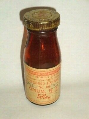 Nice Old Controlled Substance Eli Lilly Opium Pharmaceutical Medicine Bottle
