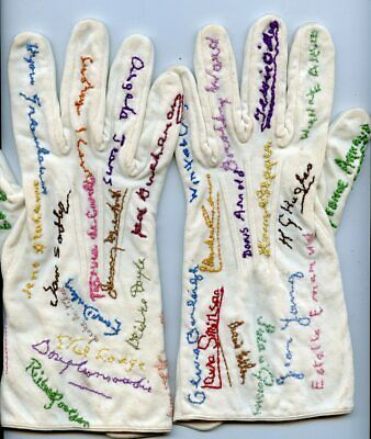 Vintage Pair White Gloves  Hand Embroidered With 46 Names - Diff Colors Thread