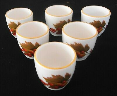 """ROYAL WORCESTER SET of 6 """"EVESHAM"""" EGG CUPS - PRISTINE/NEW CONDITION"""