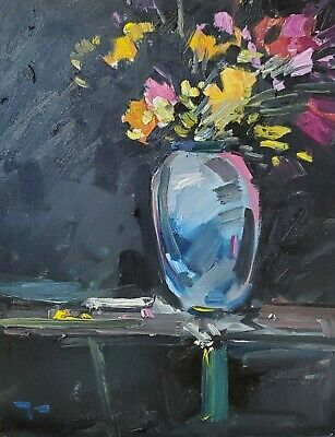 JOSE TRUJILLO Oil Painting Abstract Expressionist Still Life Flowers Floral DECO