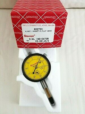 Starrett #25-881 JN/S Dial Indicator Flat Back, Anti-Magnetic NOS Mint Not Used!