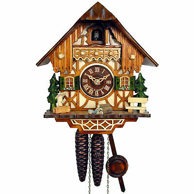 Cuckoo Clock Little Black Forest House German 1-Day Movement August Schwer New
