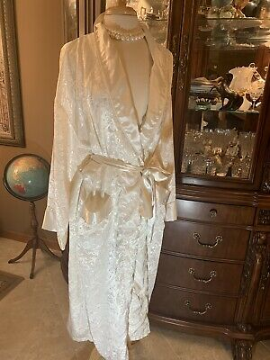 GLAM VICTORIAS SECRET Womens Damask Brocade Robe Silky Shiny Long Gown M L