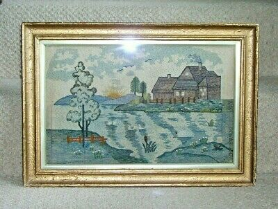 Antique 19Th Century Embroidered Picture Tapestry Framed And Mounted Original