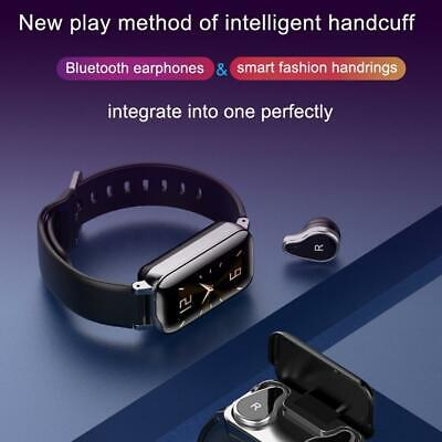 TWS T89 Smart Watch Bluetooth Earphone Heart Rate Monitor Watch Wrist With Cable
