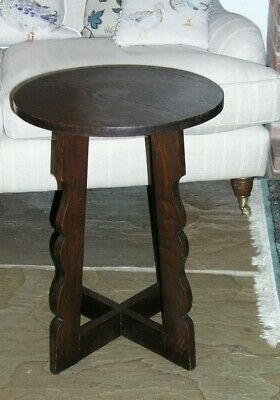 Antique Arts and Crafts Side Table Lamp table Sofa Table Round cross legged