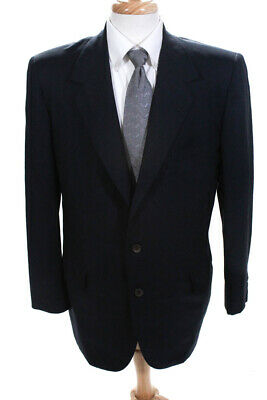 Oxford Clothes Mens Two Button Notched Collar Blazer Blue Wool Size 42 Tall