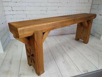 Vintage Handmade Wood Bench Seat Rustic Solid Pine Chunky Farmhouse Garden