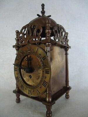 Antique Smiths Brass Mechanical Lantern Clock