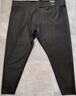 BNWT, marks and spencer, black and gold high rise leggings, size 24 short