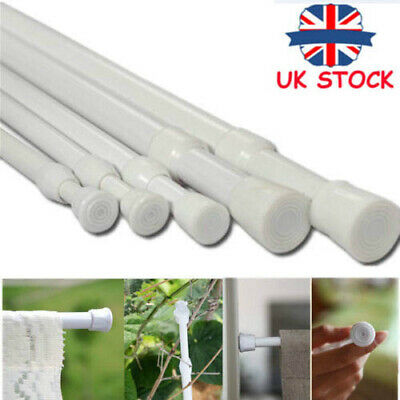 Spring Loaded Extendable Telescopic Net Voile Tension Curtain Rail Pole Rod A7