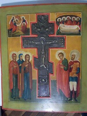 Antique bronze cross icon, orthodox Russian, hand painted икона крест ikona