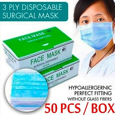 50 Pcs Disposable Face Mask Respirator Surgical Medical Dental Industrial 3 PLY