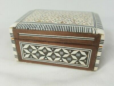 Vintage Egyptian Trinket Box Mother of Pearl Inlaid Box Stars Marquetry Design