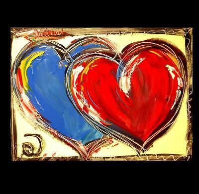 TWO HEARTS Abstract Oil Painting   Original Canvas MADE  BY KAZAV IN CANADA