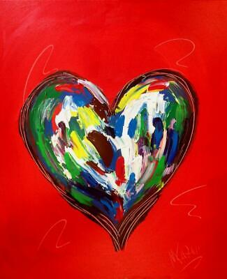 RED HEART  Abstract Oil Painting   Original Canvas MADE  BY KAZAV IN CANADA NR