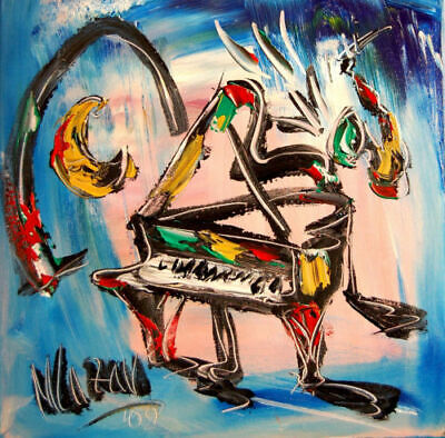 JAZZ PIANO  Abstract Oil Painting   Original Canvas SIGNED BY KAZAV CANADA ART
