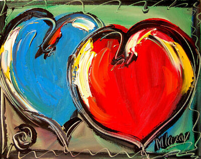 HEARTS  IMPASTO Oil Painting Original Canvas SIGNED BY KAZAV CANADA ART