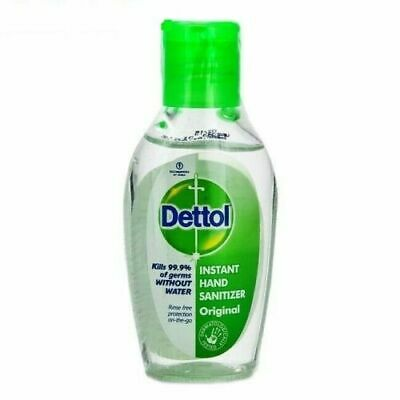 5X Original Dettol Instant Hand Sanitizer Rinse Free Protection-50 ML *NO Water*