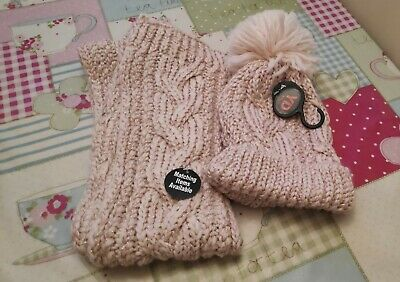 Primark young dimensions girls Scarf Hat Set Pink M/L Size 12 - 14 years BNWT