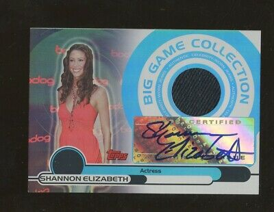 2005 Topps Big Game Actress Shannon Elizabeth Wardrobe Patch AUTO 14/50