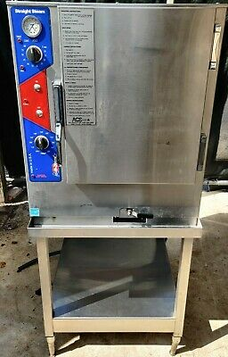 ACS STRAIGHT STEAM SG-6-1 NATURAL GAS CONVECTION BOILERLESS STEAMER with stand