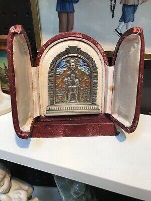 Antique 19th Cen Russian Enamel Solid Silver And Bronze Icon In Victorian Frame