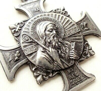 LARGE ANTIQUE SILVER EXORCISM MEDAL PENDANT w SAINT BENEDICTUS SORCERERS CROSS