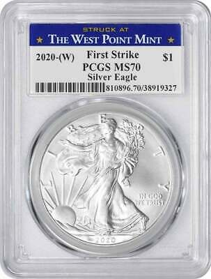 2020-(W) $1 American Silver Eagle MS70 FS PCGS (Struck at West Point Label)