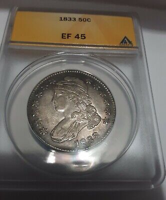 1833 bust silver half dollar anacs xf 45 with mint luster