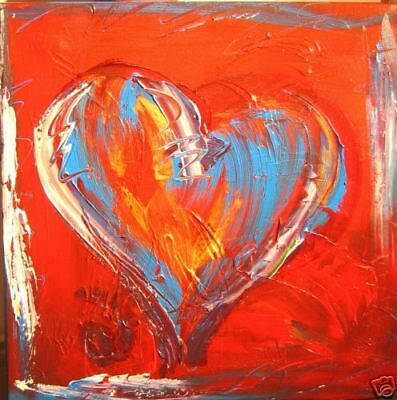 RED HEART Large Abstract Modern Original Oil Painting contemporary  WERV5