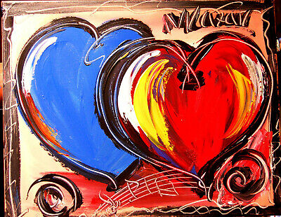 HEARTS POPART Mark Kazav  Abstract Modern CANVAS Original Oil Painting  CANADIAN