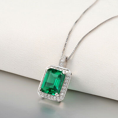 """Pendant 18"""" Chain Necklace For Women Green Emerald White Cz 925 Sterling Silver"""