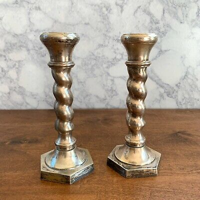 Pair of Towle William Adams Twist Candlestick Holders