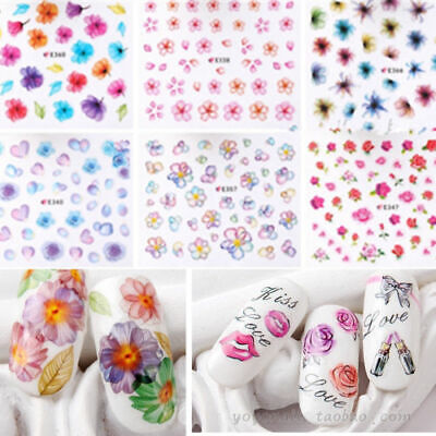 3D Nail Art Transfer Stickers 50 Sheets Flower Decals Manicure Decorations Tips