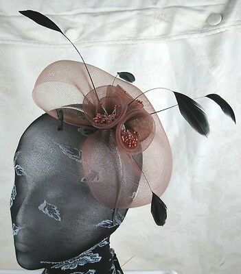 light brown feather headband fascinator millinery wedding ascot hat hair piece