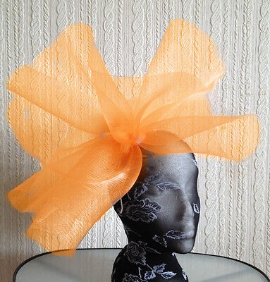 Orange fascinator millinery burlesque wedding hat hair piece ascot race bridal x