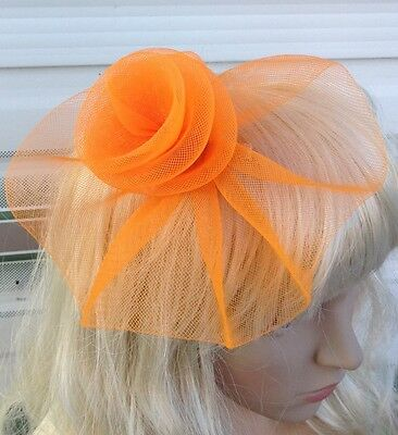 orange fascinator millinery feather brooch clip wedding hat bridal ascot race