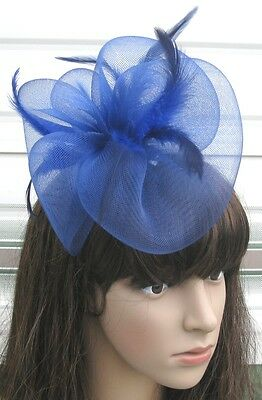 navy blue fascinator millinery feather brooch clip wedding hair piece ascot 1