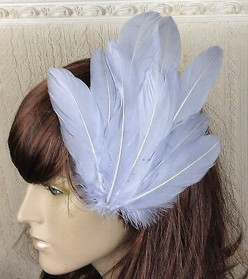 light grey feather fascinator millinery hair clip wedding piece ascot race
