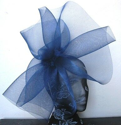 navy blue feather fascinator millinery burlesque headband wedding hat hair