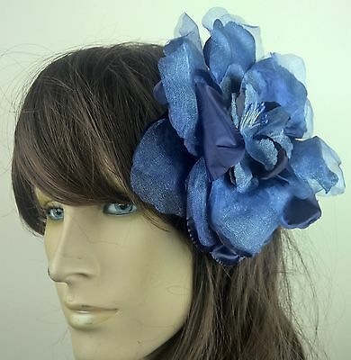 navy blue satin flower fascinator millinery burlesque wedding hat bridal race
