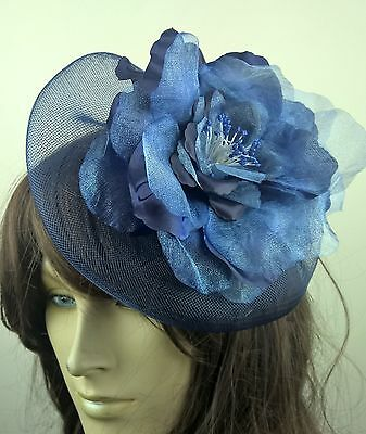 navy blue satin flower fascinator millinery burlesque wedding hat bridal race 1
