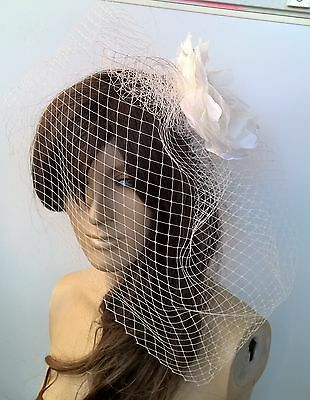 ivory satin flower black veiling fascinator hair clip ascot wedding bridal