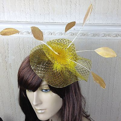 gold netting feather hair headband fascinator millinery wedding hat ascot race