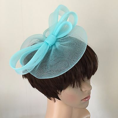 duck egg light blue fascinator millinery burlesque wedding hat ascot bridal